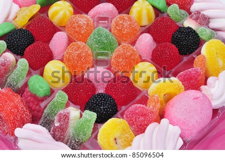 closeup of a tray full of candies