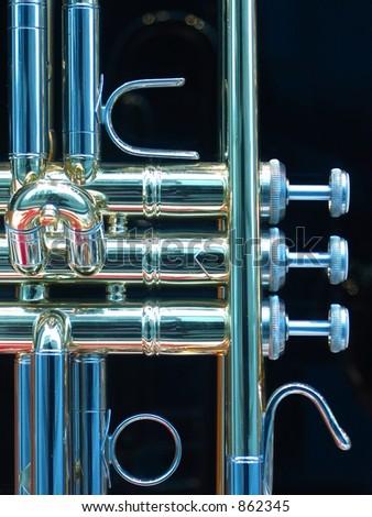 Closeup of a trumpet - stock photo