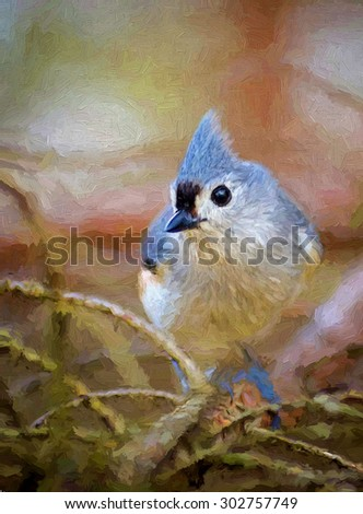 Closeup of a tufted titmouse sitting in a pine tree transformed into a colorful painting - stock photo