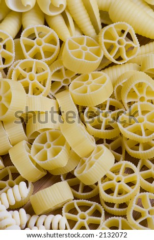 Closeup of a variety of different pastas - stock photo