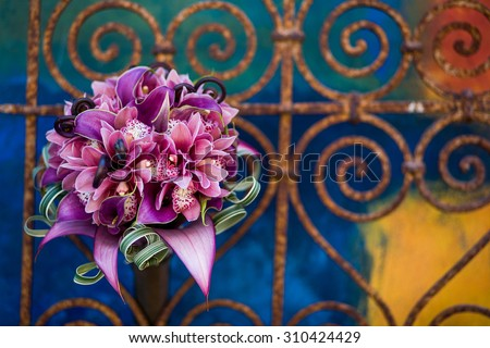Closeup of a vibrant modern bouquet of flowers  - stock photo