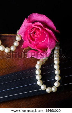 Closeup of a vibrant pink rose with dew drops, a string of pearls, and an old violin on black background - stock photo