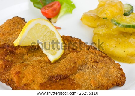 closeup of a  Viennese escalope (Wiener Schnitzel) - stock photo