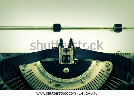 Closeup of a vintage manual typewriter. - stock photo