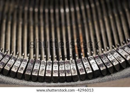 Closeup of a vintage typewriter - stock photo