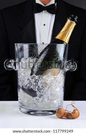 Closeup of a waiter standing behind a champagne bucket, Shallow depth of field man is unrecognizable. Vertical format. - stock photo
