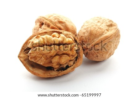 closeup of  a walnut isolated on white background - stock photo