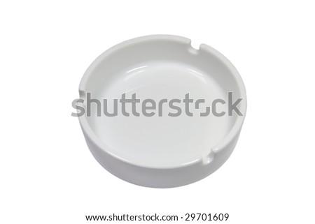Closeup of a white ash-tray (isolated on white) - stock photo