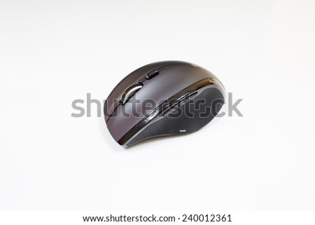 Closeup of a wireless computer mouse isolated on white background