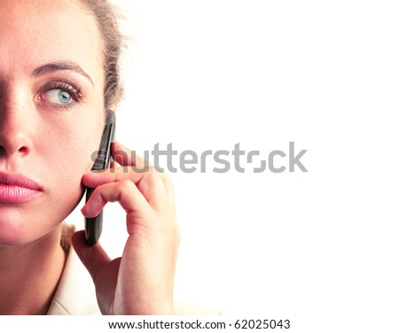 closeup of a woman on the phone