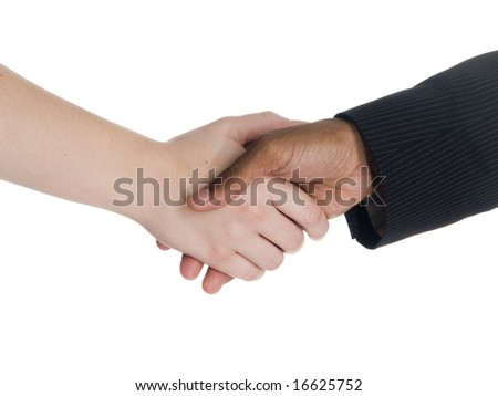Closeup of a woman shaking hands with a man in a suit.