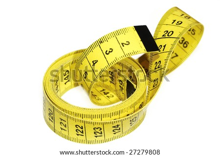 Closeup of a yellow measuring tape