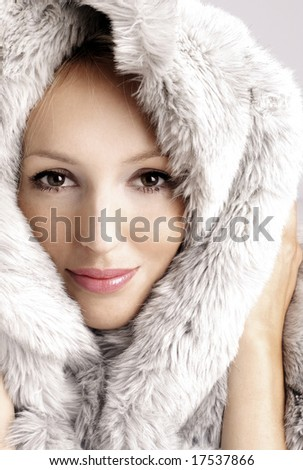 Closeup of a young beautiful woman - stock photo