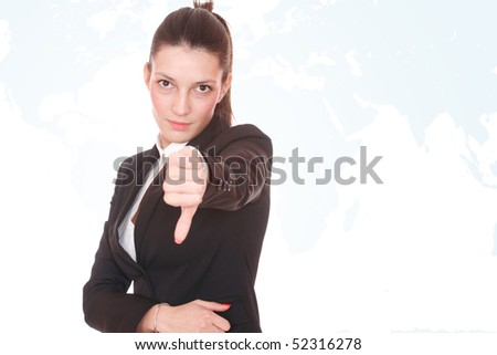 Closeup of a young business woman with worldmap on  background.