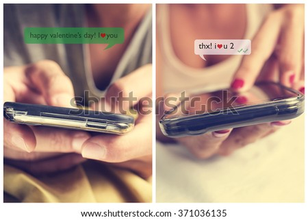 closeup of a young man and a young woman face down in bed sending text messages each other with their smartphones with the text Happy valentines day, I love you, him, and thanks, I love you too, her - stock photo