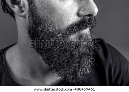 Closeup of a young man's beard and mustache over gray background.Perfect beard