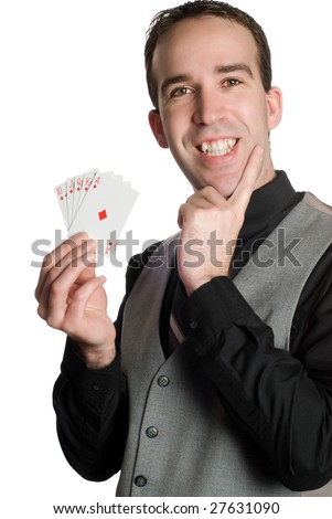 Closeup of a young man wearing a suit and holding a royal flush with the suit of diamonds, isolated against a white background