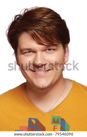 Closeup of a young man wearing an orange t-shirt, isolated on white