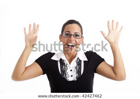 Closeup of a young woman looking surprised or scared against white background - stock photo
