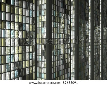 Closeup of Abstract skyscrapers windows in the city - stock photo