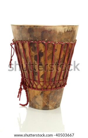 Closeup of african djembe on white background - stock photo