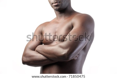 Closeup of african man's muscles - stock photo