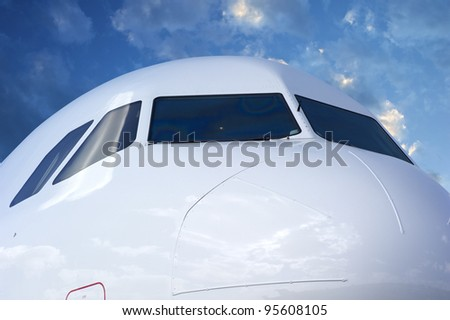 Closeup of Airplane Cockpit - stock photo