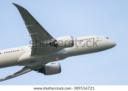 Closeup of airplane taking off from the airport. - stock photo