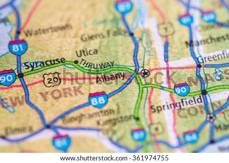 Closeup of Albany on a geographical map. - stock photo