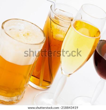 Closeup of alcoholic drinks. - stock photo