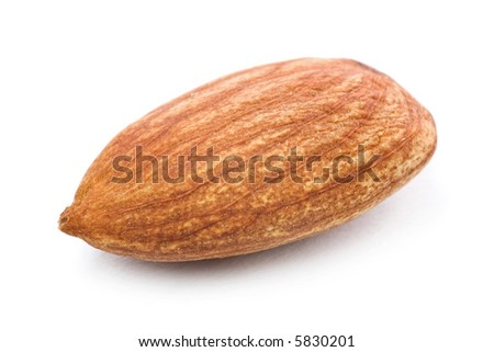 Closeup of almond nuts kernel isolated on white background. - stock photo
