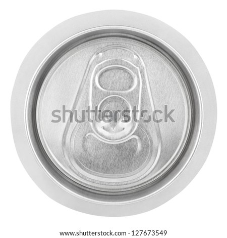 Closeup of aluminum soda can isolated on white background. Top view - stock photo