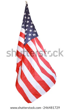 Closeup of American flag isolated on white background with clipping path. - stock photo