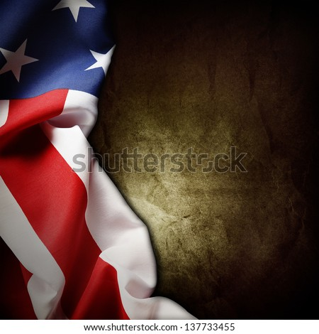 Closeup of American flag on grunge background - stock photo