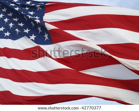 Closeup of an American Flag blowing in the wind