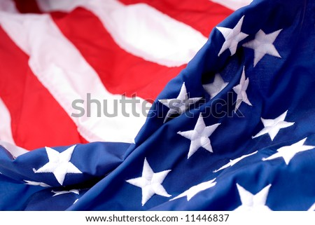 Closeup of an American flags