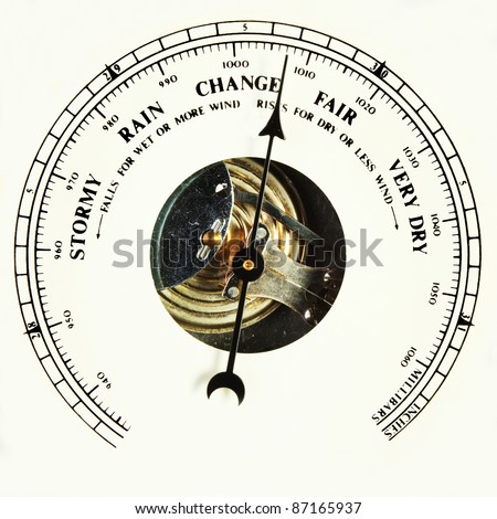 Closeup of an aneroid barometer dial set to change - stock photo