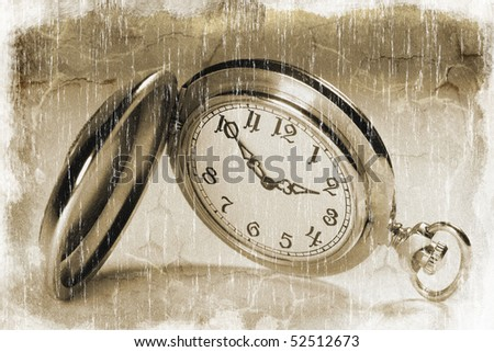 Closeup of an antique pocket watch (vintage style) - stock photo