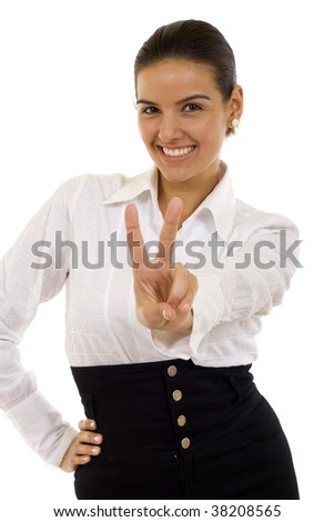 closeup of an attractive businesswoman making her victory sign
