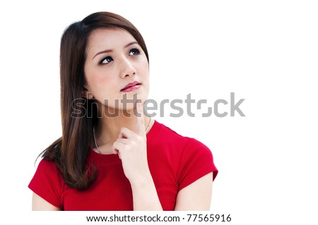 Closeup of an attractive young woman thinking, isolated on white background. - stock photo