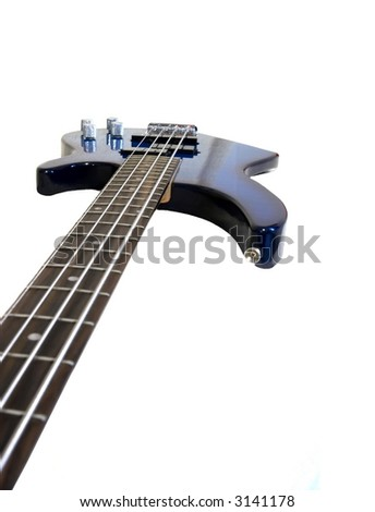 Closeup of an electric bass isolated on white - stock photo