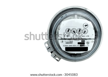 Closeup of an electric meter and dials - stock photo