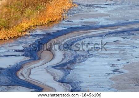 Closeup of an oil slick in water with fall colors in the grass on the shore - stock photo