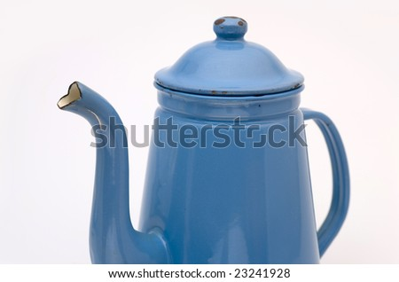 Closeup  of an old antique coffee can - Madam Blue - stock photo