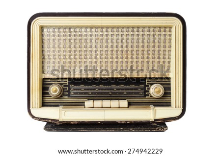 closeup of an old radio receptor on a white background - stock photo