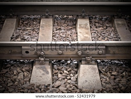 Closeup of an old railway junction with gap - stock photo