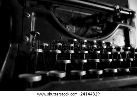 closeup of an old typewriting machine - stock photo