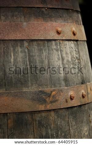 Closeup of an old wine barrel - stock photo
