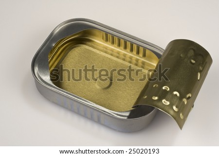 Closeup of an open sardine can; the can is clean and the lid is up