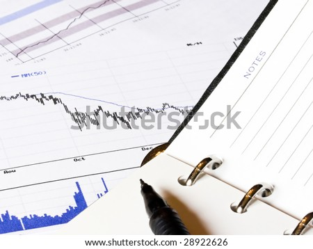Closeup of an opened agenda to a blank notes page.  An economic decreasing chart and analysis business histogram is present in the background.